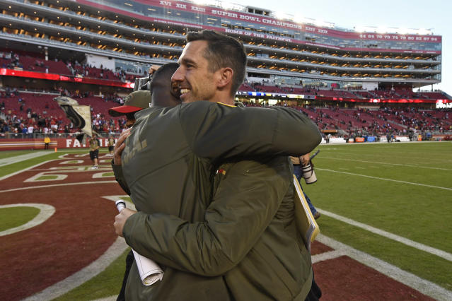 Kyle Shanahan is congratulated after his first win as a head coach, which came over the Giants in 2017. (Jose Carlos Fajardo/Bay Area News Group) (Photo by MediaNews Group/Bay Area News via Getty Images)