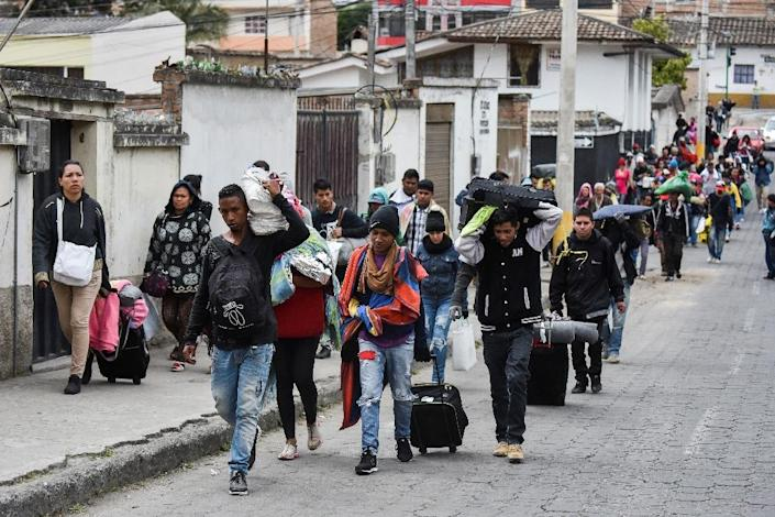 Ecuador and Peru's measures to slow the influx of Venezuelan migrants have worried Colombia which is already saturated (AFP Photo/Luis ROBAYO)