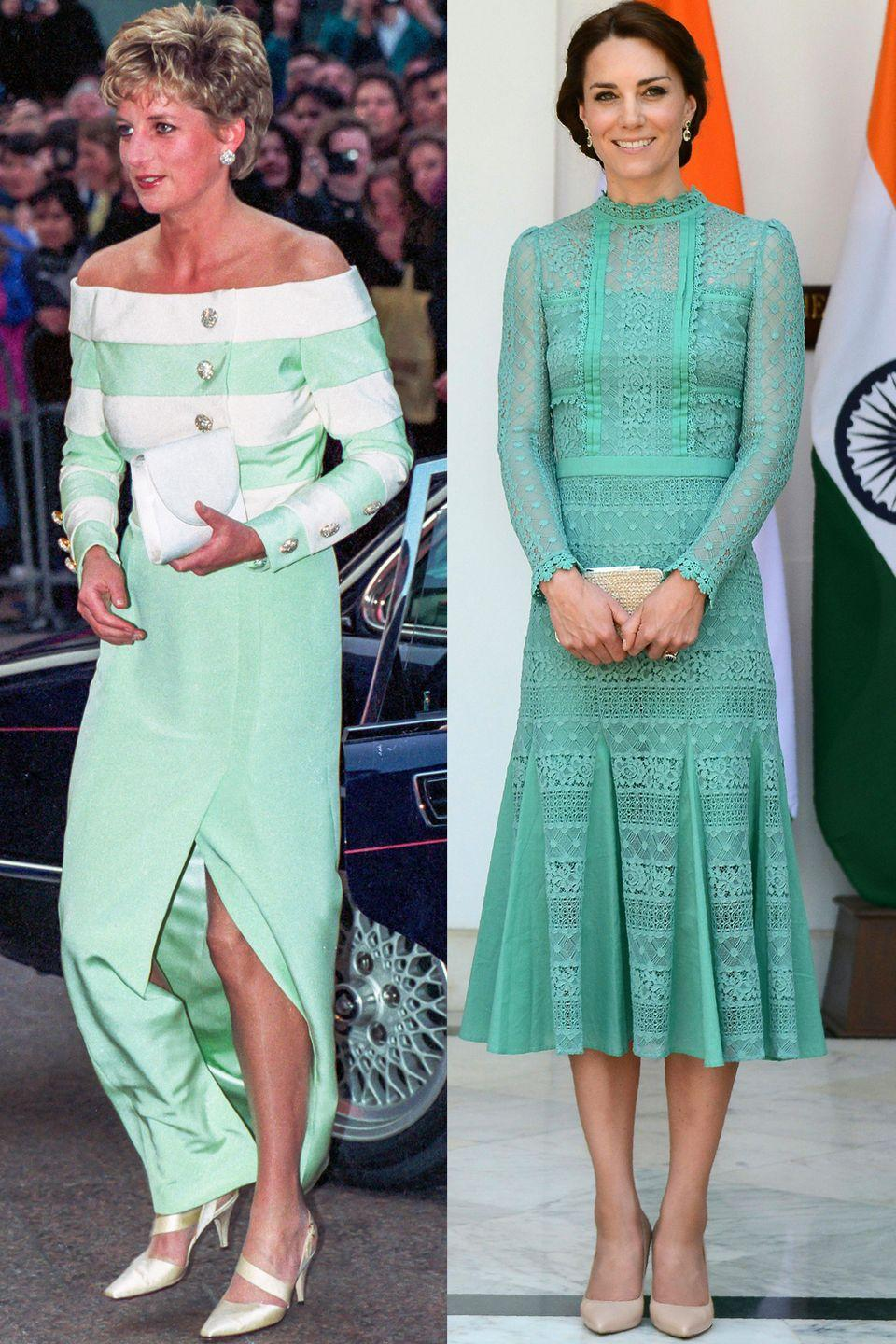 <p>Diana attending a premiere in London's West End in April 1993; Kate in Temperley London meeting the Prime Minister of India in New Delhi in April 2016.</p>