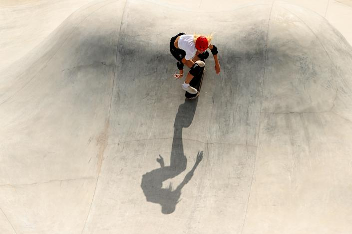 <p>Bombette Martin of Team Great Britain competes during the Women's Skateboarding Park Preliminary Heat on day twelve of the Tokyo 2020 Olympic Games at Ariake Urban Sports Park on August 04, 2021 in Tokyo, Japan. (Photo by Ezra Shaw/Getty Images)</p>