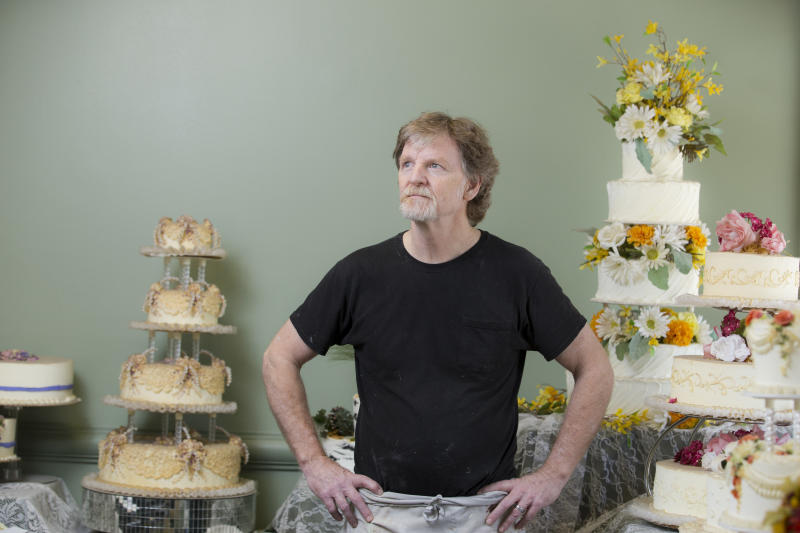 Jack Phillips stands before a display of his wedding cakes at the Masterpiece Cakeshop in September 2016. (Matthew Staver/The Washington Post via Getty Images)