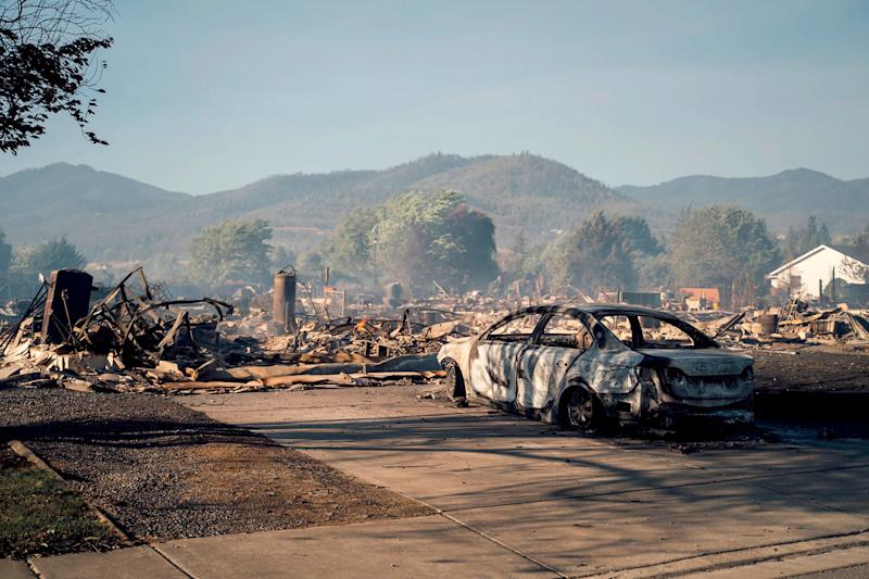 This photo taken by Talent, Oregon, resident Kevin Jantzer shows the destruction of his hometown Wednesday after wildfires ravaged the central Oregon area. (Photo: Kevin Jantzer via Associated Press)