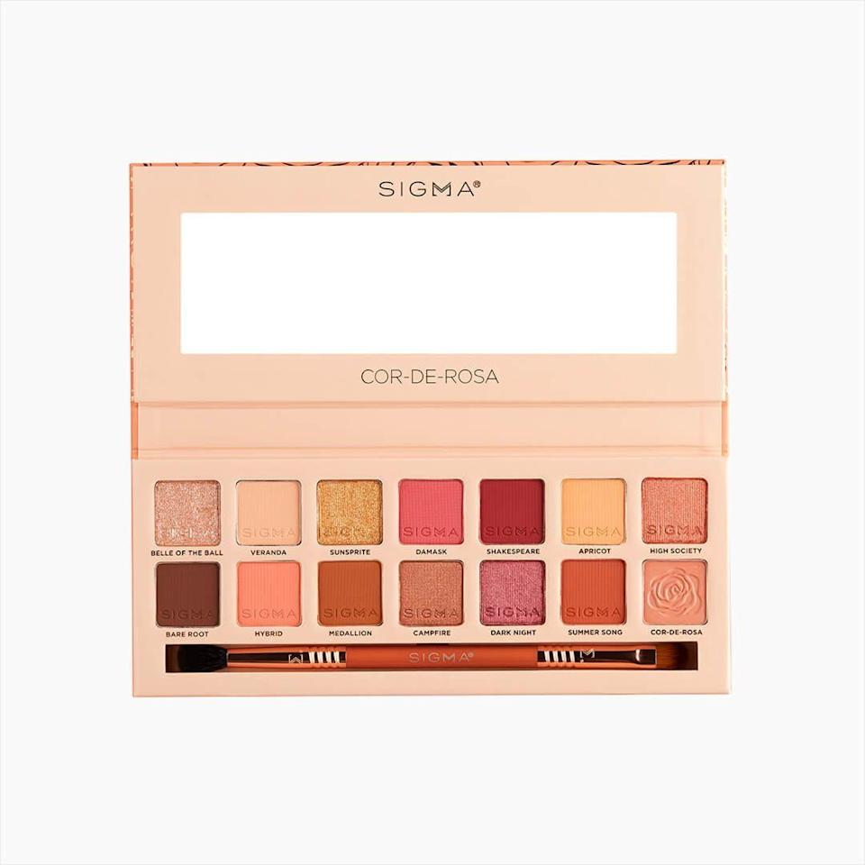 """Sigma's latest eye shadow palette, Cor de Rosa, directly translates to """"color of the rose,"""" so it's no surprise that it's packed with pink of every kind: bright, muted, matte, metallic, peach-toned, red-toned… With this palette alone, the possibilities for monochromatic looks are endless."""