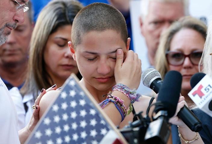 Emma Gonzalez, a Marjory Stoneman Douglas High School student who survived the shooting, gave an emotional speech naming politicians who receive money from the National Rifle Association gun lobbying group (AFP Photo/RHONA WISE)