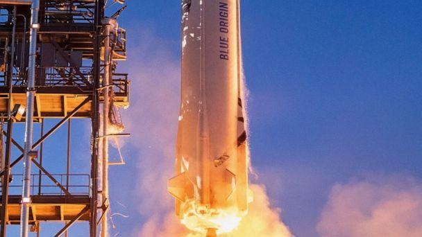 PHOTO: This undated handout photo obtained May 19, 2021, courtesy of Blue Origin, shows a close-up of the New Shepard rocket as it launches in West Texas. (Blue Origin/AFP via Getty Images, FILE)