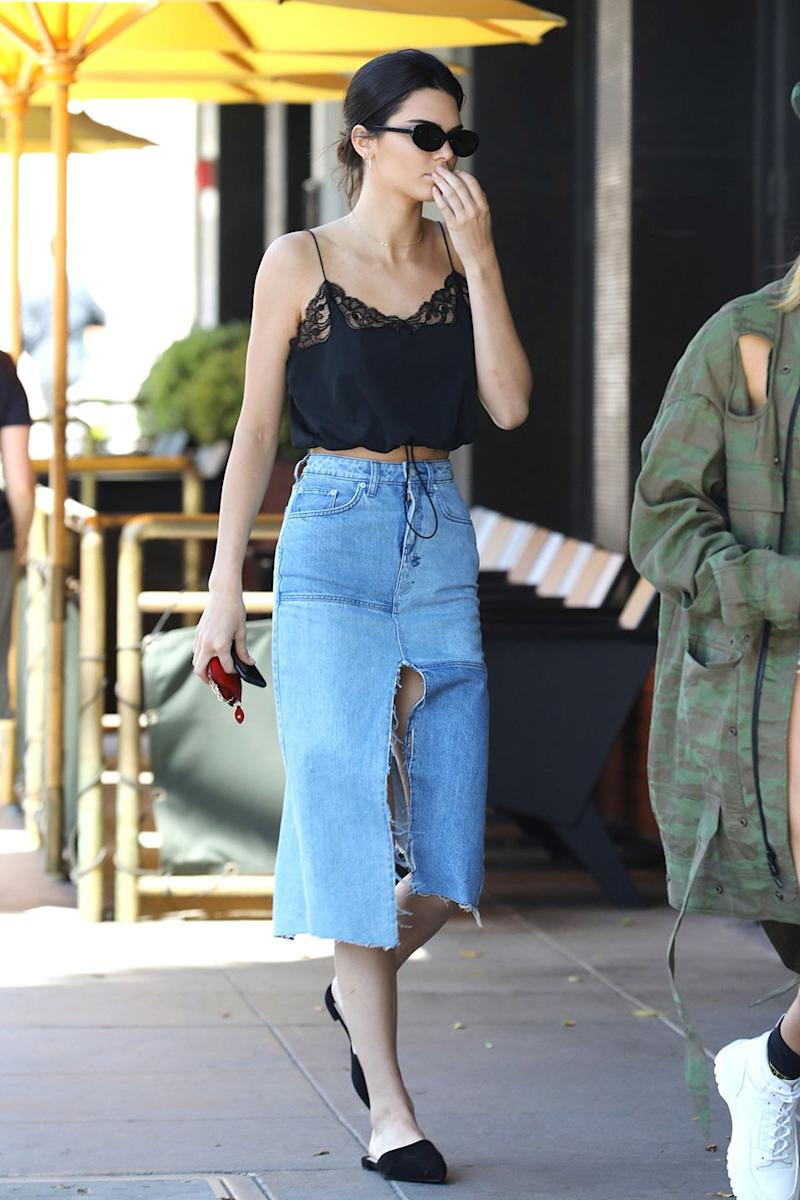 Kendall Jenner, a well-known fan of denim skirts, showed off this knee-length patched version by Ksubi. Unsurprisingly, it's already sold out.