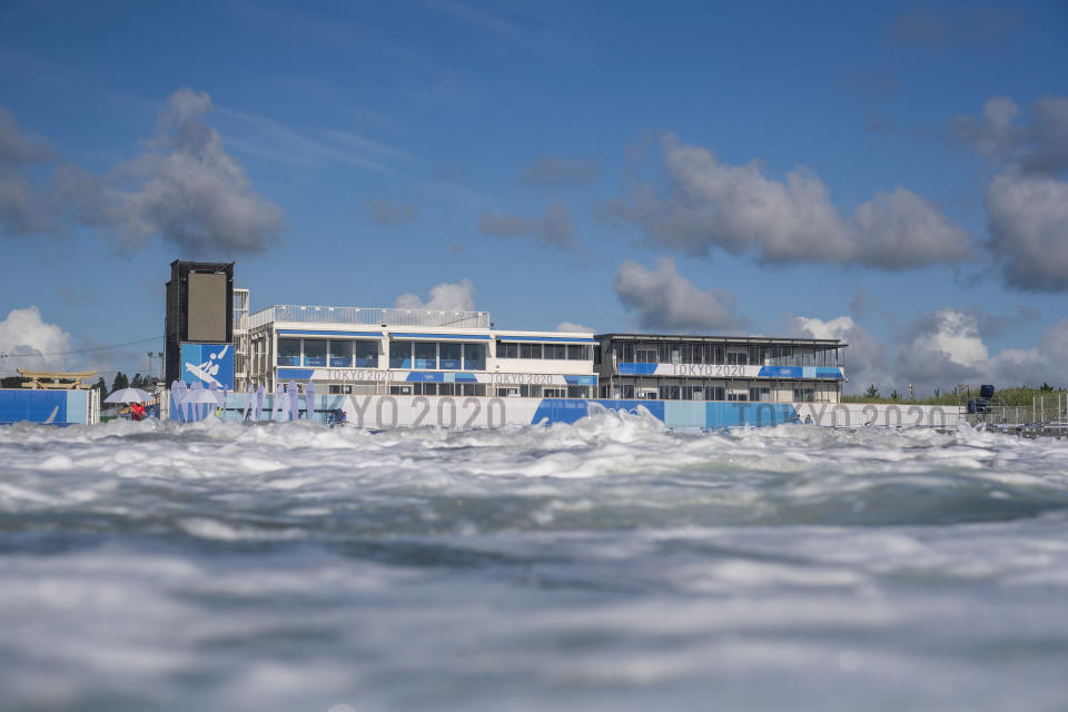 This photo shows a general view of the surfing venue at the 2020 Summer Olympics at Tsurigasaki beach in Ichinomiya, Japan, Friday, July 23, 2021. (Olivier Morin/Pool Photo via AP)