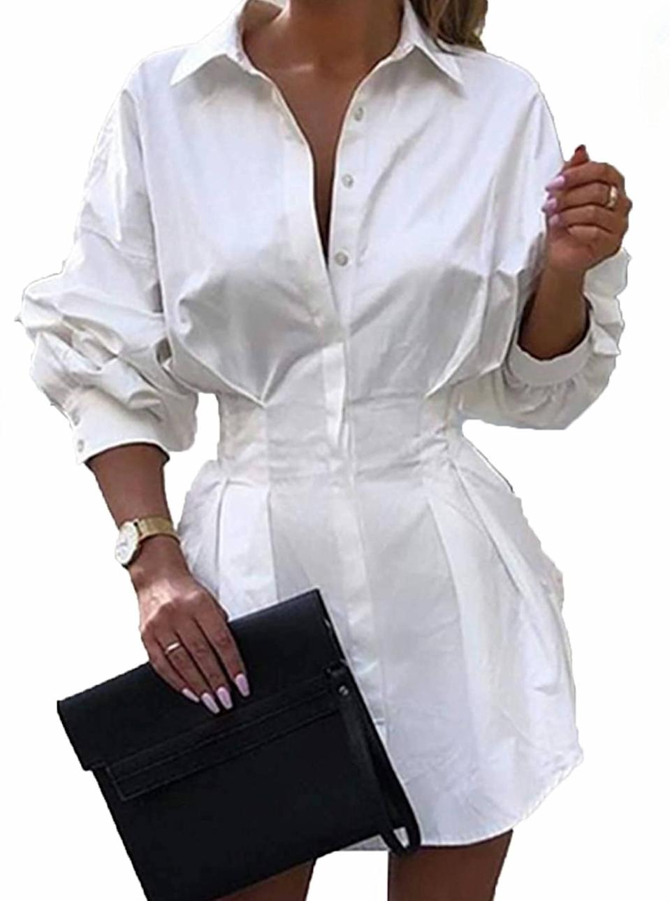 """An edgy pick for anyone who can never have enough <a href=""""https://www.glamour.com/gallery/best-white-button-down-shirts-women?mbid=synd_yahoo_rss"""" rel=""""nofollow noopener"""" target=""""_blank"""" data-ylk=""""slk:white button-downs"""" class=""""link rapid-noclick-resp"""">white button-downs</a>. $27, Amazon. <a href=""""https://www.amazon.com/Shirtdress-Women-Button-Sleeve-Blouse/dp/B07WGMM17T/"""" rel=""""nofollow noopener"""" target=""""_blank"""" data-ylk=""""slk:Get it now!"""" class=""""link rapid-noclick-resp"""">Get it now!</a>"""