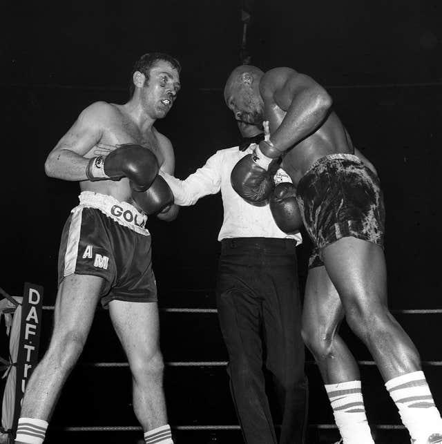 British boxer Alan Minter, left, is stopped in the third round by Hagler at Wembley Arena