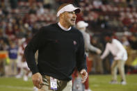 Oklahoma defensive coordinator Alex Grinch is shown before an NCAA college football game against TCU in Norman, Okla., Saturday, Nov. 23, 2019. After winning a sixth conference title in a row, the No. 8 Sooners (8-2) will again end the season in a New Year's Six bowl game against a high-powered SEC offense. This time they face national passing leader No. 10 Florida. (AP Photo/Sue Ogrocki)