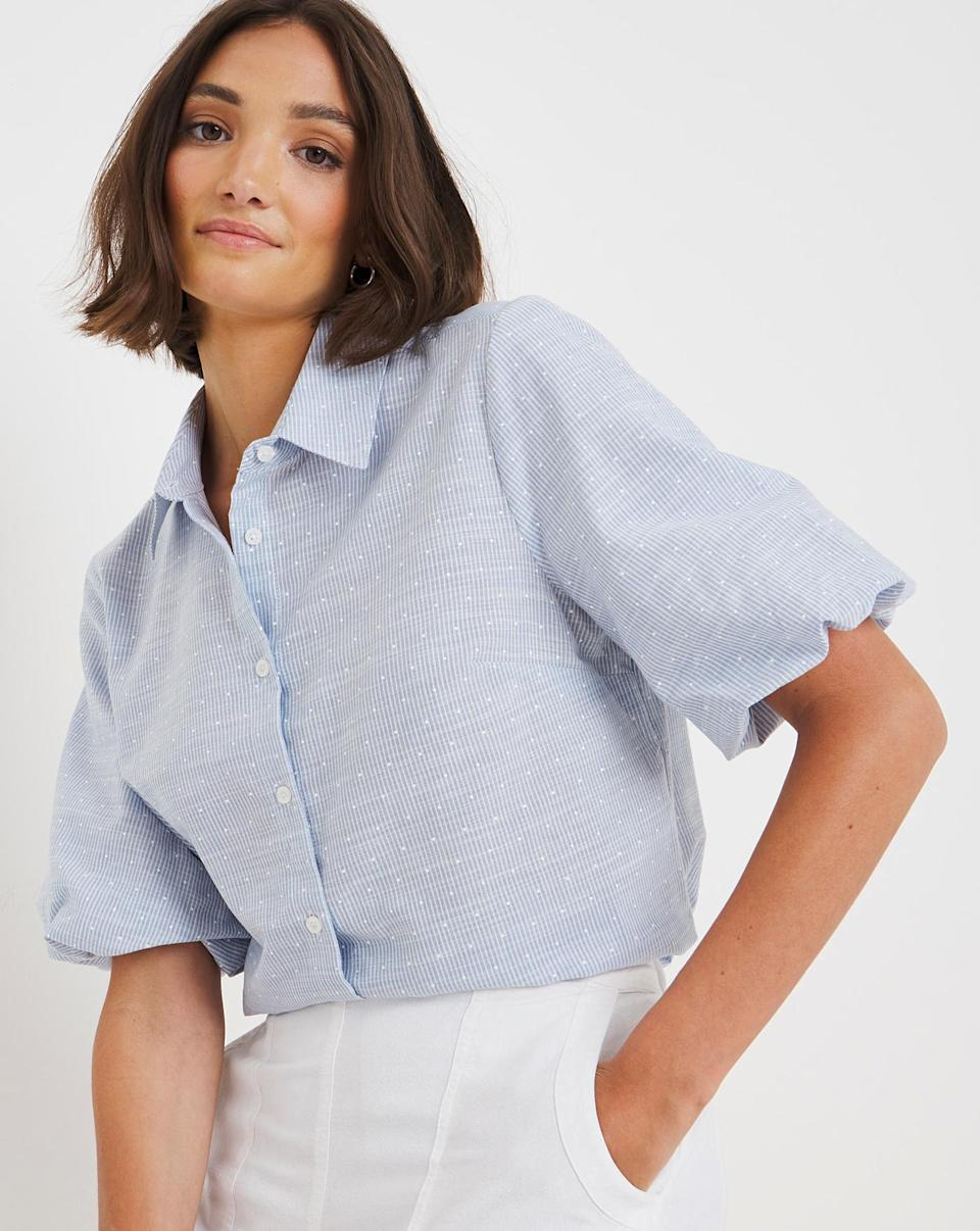 Blue Puff Sleeve Shirt With Dobby Spot (JD Williams)