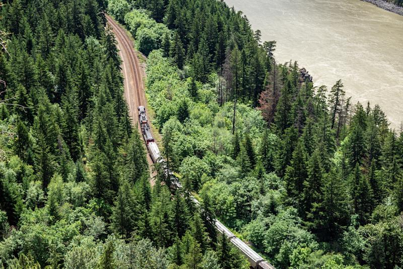 A cargo train proceeds through forested track beside a rolling river.