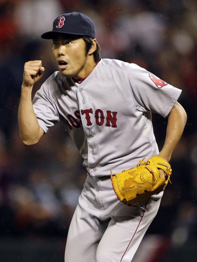 Boston Red Sox relief pitcher Koji Uehara, of Japan, reacts after a baseball game against the Baltimore Orioles, Thursday, April 3, 2014, in Baltimore. Boston won 4-3. (AP Photo/Patrick Semansky)