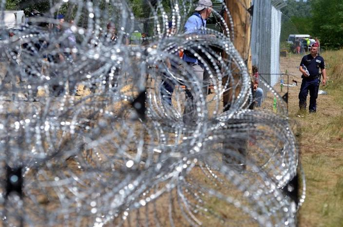 Local soldiers of the Hungarian Army's technical unit set the first elements of a metal fence near Morahalom at the Hungarian-Serbian border on July 16, 2015 (AFP Photo/Csaba Segesvari)