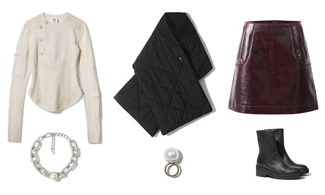 <p><i>For a stylish fall weekend date outfit, we suggest choosing one of the bolder H&M Studio pieces, like this burgundy mini skirt. Pair it with a comfy knit, a quilted poncho, and pearl jewelry. (Photo courtesy of H&M) </i></p>