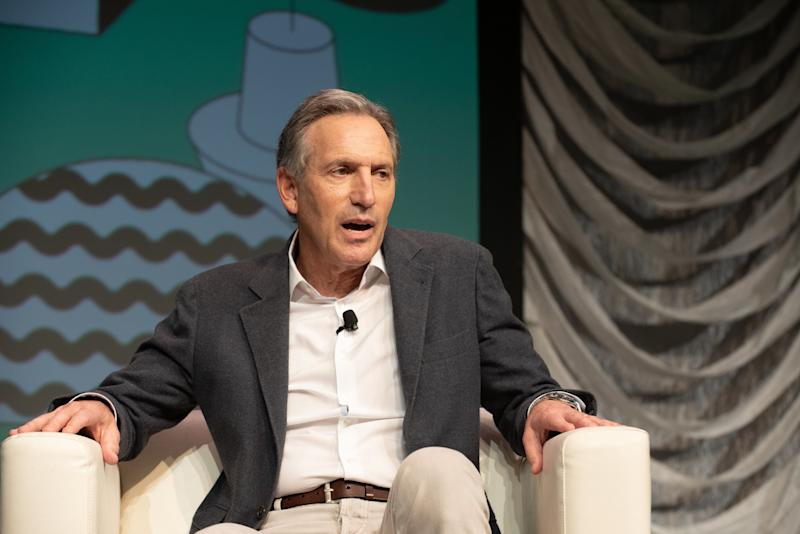 AUSTIN, TEXAS - MARCH 09: Businessman and presidential candidate Howard Schultz speaks live on stage during the 2019 SXSW Conference And Festival at the Austin Convention Center on March 09, 2019 in Austin, Texas. (Photo by Jim Bennett/WireImage)