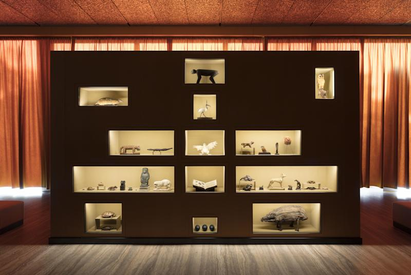 """Exhibition view of """"The Spitzmaus Mummy and Other Treasures,"""" a project by Wes Anderson and Juman Malouf. in the exhibition Fondazione Prada, Milan 