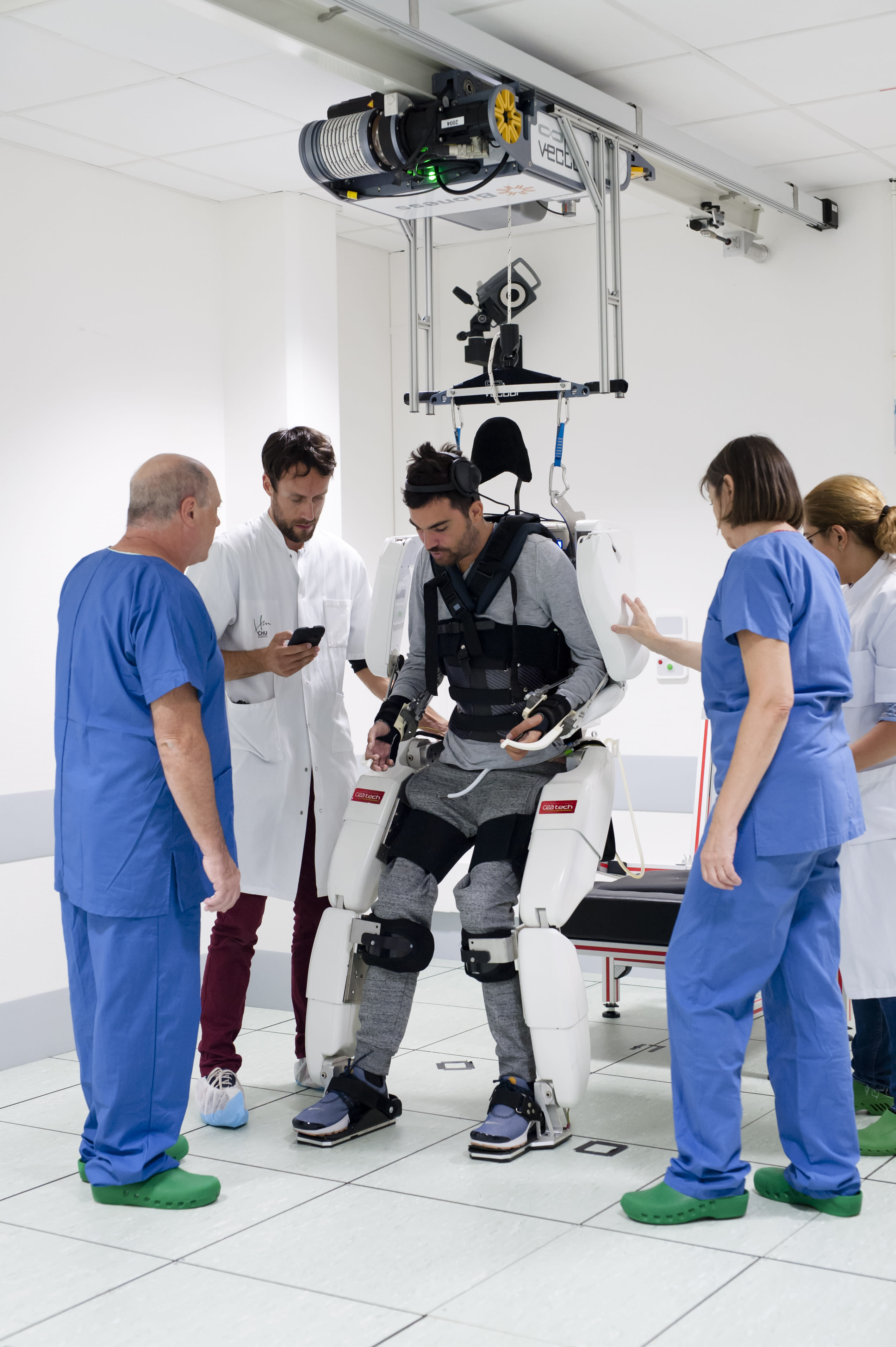 Thibault said he hadn't walked for two years before using the exoskeleton (Picture: Fonds de dotation Clinatec)