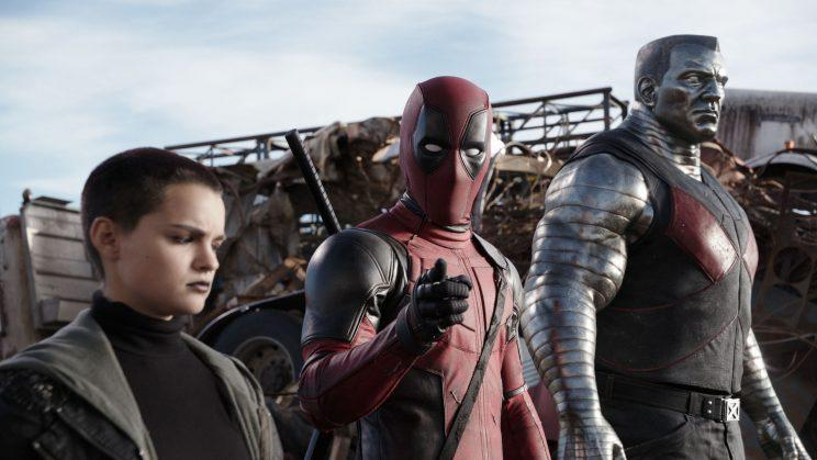 Deadpool (Ryan Reynolds) with X-Men allies Negasonic Teenage Warhead (Brianna Hildebrand) and Colossus (Stefan Kapicic). (Credits: 20th Century Fox)