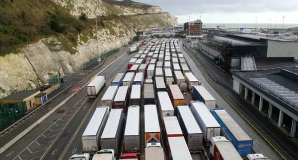 Queues of vehicles have become a familiar sight at Dover as British businesses stockpile ahead of Brexit (PA)