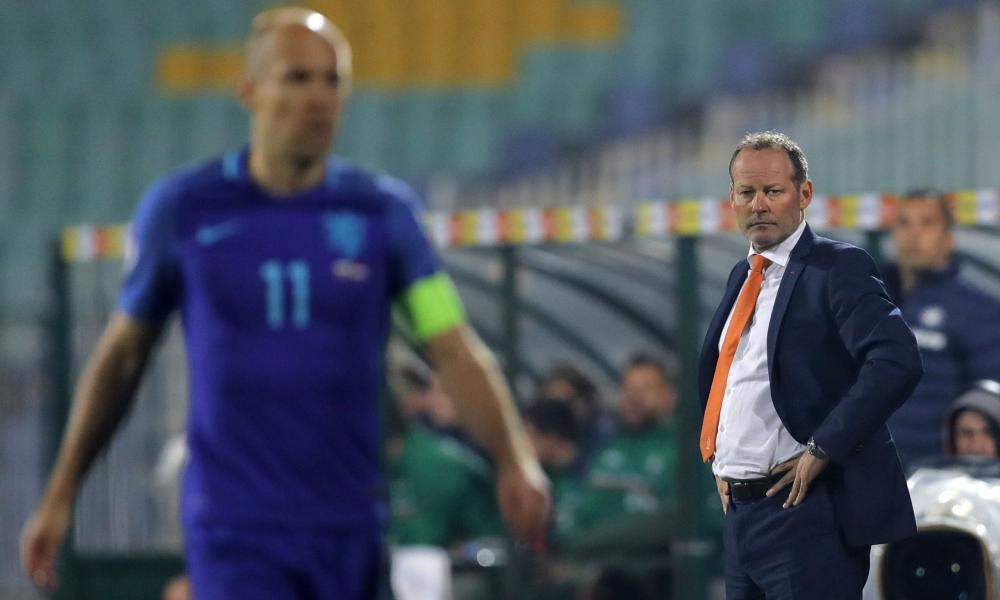 Danny Blind (right) looks on as captain Arjen Robben and his team fell to a 2-0 defeat in Bulgaria, ending Blind's 20-month reign.