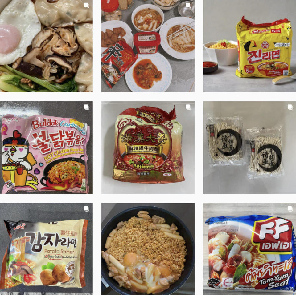 A collage of instant noodles