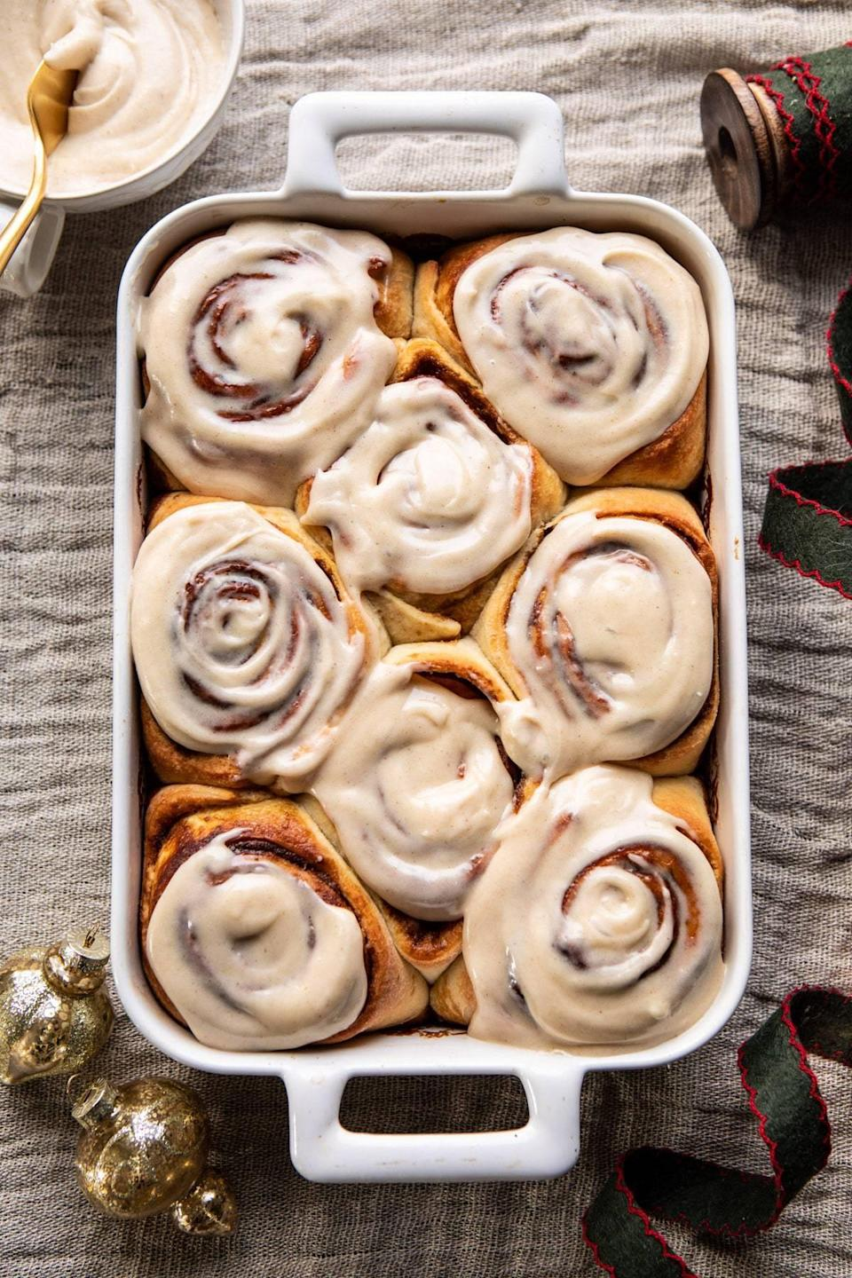 "<p>Onboard with the cinnamon roll hype, Montana locals are all about these glazed goodies. This recipe incorporates gingerbread into the mix, so you know it's about to be good.</p> <p><strong>Get the recipe</strong>: <a href=""https://www.halfbakedharvest.com/easy-gingerbread-brioche-cinnamon-rolls/"" class=""link rapid-noclick-resp"" rel=""nofollow noopener"" target=""_blank"" data-ylk=""slk:gingerbread brioche cinnamon rolls"">gingerbread brioche cinnamon rolls</a></p>"
