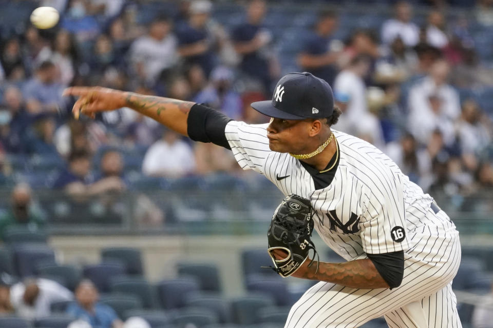 New York Yankees pitcher Luis Gil delivers in the second inning of the team's baseball game against the Baltimore Orioles, Tuesday, Aug. 3, 2021, in New York. (AP Photo/Mary Altaffer)