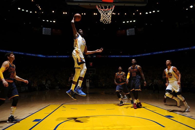Kevin Durant dunks against the Cleveland Cavaliers in Game 1 of the 2017 NBA Finals. He did a lot of that in the first half. (Garrett Ellwood/NBAE/Getty Images)