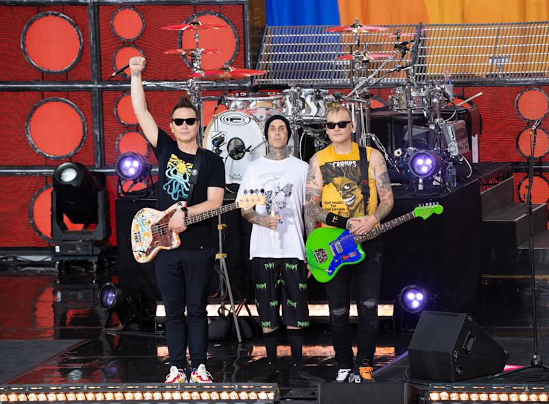 "NEW YORK, NEW YORK - JULY 19: (L-R) Mark Hoppus, Travis Barker and Matt Skiba of Blink-182 attend ABC's ""Good Morning America"" at Rumsey Playfield, Central Park on July 19, 2019 in New York City. (Photo by Noam Galai/Getty Images)"