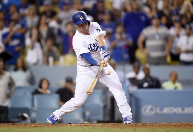 Kyle Farmer might have struck out in Game 2 of the NLDS, but his teammates appreciated his good at-bat. (Getty Images)