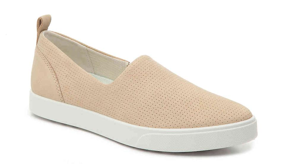 These slip-on sneakers feature a sleek leather and suede upper and a removable cushioned insole. (Photo: Amazon)