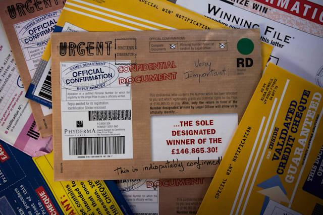 A collection of letters which have been sent to Samuel Rae from St Buryan, Cornwall. He is a postal scam victim, and has severe dementia. He has lost �35,000 because of the scams. 01/09/2015 See SWNS story SWSCAM; A retired Army colonel and dementia sufferer was targeted by fraudsters who conned him out of �35,000 � after he failed to tick one box when filling out a survey. Samuel Rae, 87, was targeted by the fraudsters after he filled out a survey for a charity he supported, but failed to tick a box stating that he did not want his details shared. He was contacted over 700 times by 12 different firms, some of which tried to convince him he has won vast sums of money in prizes. In total Mr Rae was conned out of �35,000, and the scam only came to an end when his son, Chris Rae, visited him to find his home filled with hundreds of scam letters.