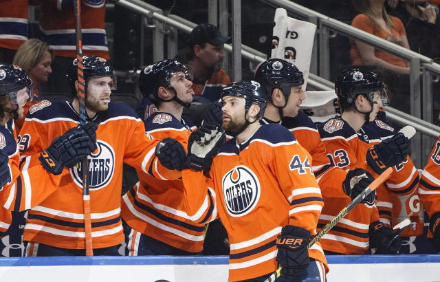 Edmonton Oilers' Zack Kassian (44) celebrates a goal against the Buffalo Sabres during first period NHL hockey action in Edmonton, Alberta, on Monday, Jan. 14, 2019. (Jason Franson/The Canadian Press via AP)