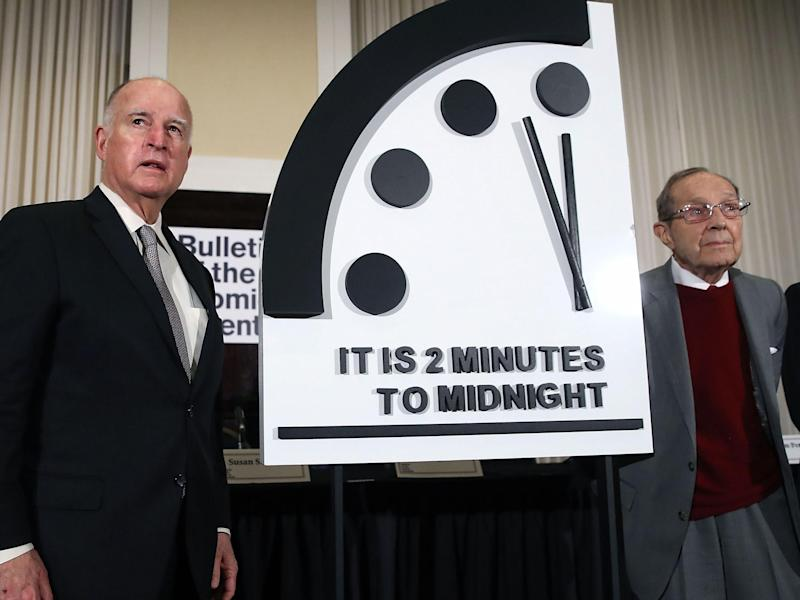 Former California governor Jerry Brown and former US secretary of defence William Perry unveil the Doomsday Clock: Getty Images