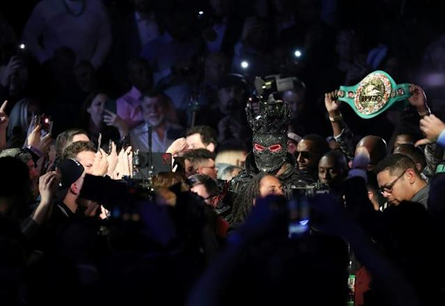 American Deontay Wilder enters the ring prior to his heavyweight title rematch with Tyson Fury, won by Fury by seventh-round TKO (AFP Photo/AL BELLO)