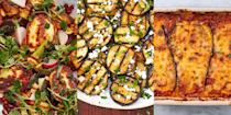 """<p>Aubergine is the best substitute if you're not a meat-eater, or simply trying to cut down. It's super versatile and can be used in just about anything. Whether that's an <a href=""""https://www.delish.com/uk/cooking/recipes/a28960161/vegetarian-aubergine-lasagna-recipe/"""" rel=""""nofollow noopener"""" target=""""_blank"""" data-ylk=""""slk:Aubergine Lasagne"""" class=""""link rapid-noclick-resp"""">Aubergine Lasagne</a> (classic), some <a href=""""https://www.delish.com/uk/cooking/recipes/a28960291/eggplant-pizza-bites-recipe/"""" rel=""""nofollow noopener"""" target=""""_blank"""" data-ylk=""""slk:Aubergine Pizza Bites"""" class=""""link rapid-noclick-resp"""">Aubergine Pizza Bites</a> or an <a href=""""https://www.delish.com/uk/cooking/recipes/a30271089/halloumi-salad/"""" rel=""""nofollow noopener"""" target=""""_blank"""" data-ylk=""""slk:Aubergine, Harissa and Halloumi Salad"""" class=""""link rapid-noclick-resp"""">Aubergine, Harissa and Halloumi Salad</a>, there's just so many ways you can use the veggie. <br></p><p>But if you've found yourself stumped for recipe ideas, we've got you covered! For some incredibly easy (and incredibly tasty) aubergine recipes, take a look at our favourites now. </p>"""