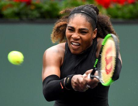 Mar 10, 2018; Indian Wells, CA, USA; Serena Williams (USA) during her second round match against Kiki Bertens (not pictured) in the BNP Paribas Open at the Indian Wells Tennis Garden. Mandatory Credit: Jayne Kamin-Oncea-USA TODAY Sports