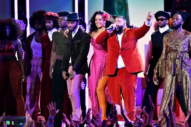 <p>Bryson Tiller, Rihanna, and DJ Khaled perform onstage during the 60th Annual Grammy Awards at Madison Square Garden on January 28, 2018, in New York City. (Photo: Getty Images) </p>