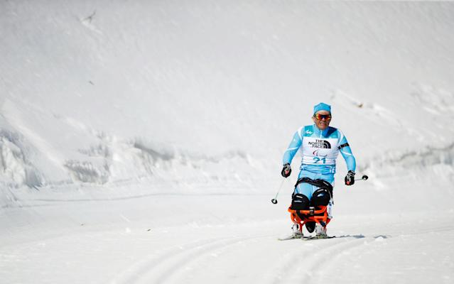 Biathlon - Pyeongchang 2018 Winter Paralympics - Men's 12.5km - Sitting - Alpensia Biathlon Centre - Pyeongchang, South Korea - March 13, 2018 - Sergey Ussoltsev of Kazakhstan. REUTERS/Carl Recine