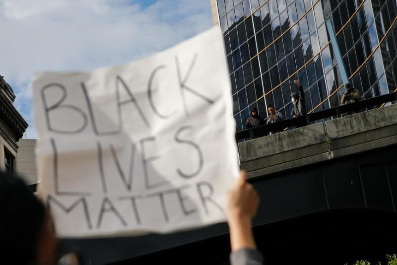 Protesters rally against the death in Minneapolis police custody of George Floyd, in Seattle
