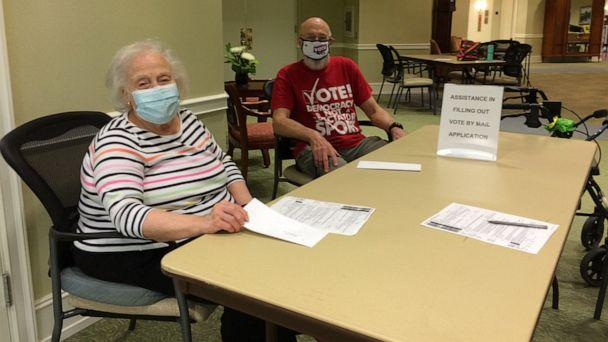 PHOTO: Independent living residents Don Gurney and Jean Bacon host a recent voter registration signup event at Goodwin House Bailey's Crossroads in Falls Church, Virginia. (Courtesy Don Gurney)