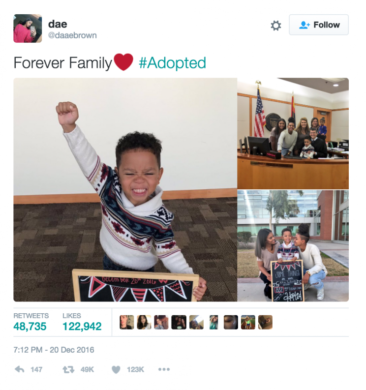 A three-year-old boy's adorable reaction to finally being adopted is breaking hearts all over the internet