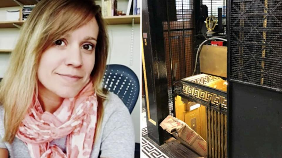 Pictured is Carrie O'Connor, the woman who was crushed in an elevator, and on the right is a picture from the scene where she died with the package jutting out of the carriage.