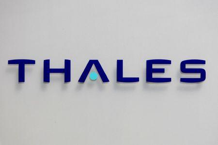 The logo of French defence and electronics group Thales is seen at the company's headquarters in Neuilly