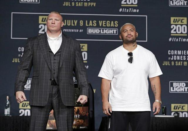 The UFC opted not to fine Brock Lesnar for his positive drug tests before and after his fight with mark hunt. (AP)