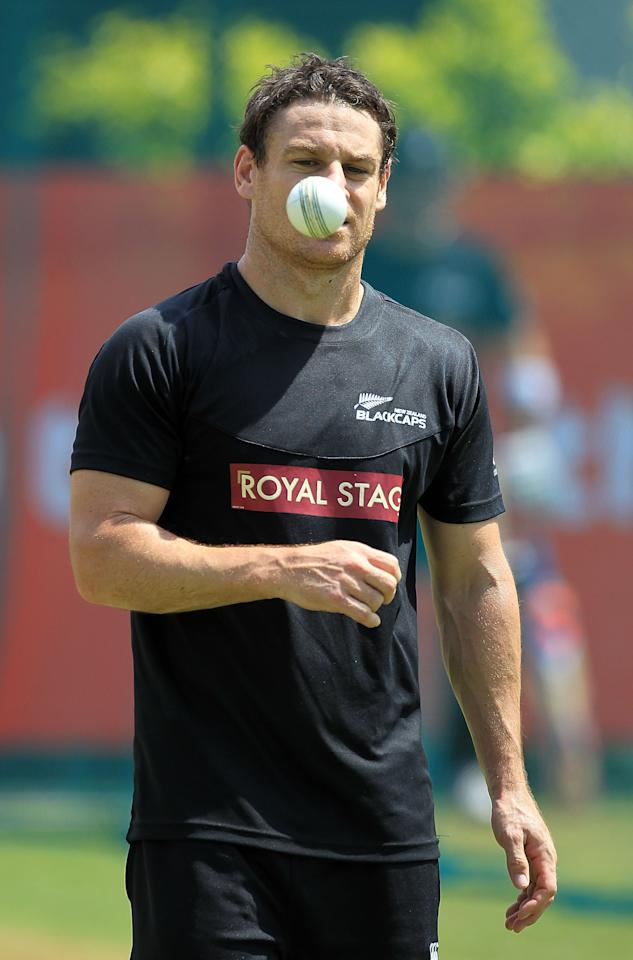 KANDY, SRI LANKA - SEPTEMBER 19:  New Zealand's Nathan McCullum bowling in the nets at training ahead of New Zealand's first ICC World T20 game on September 19, 2012 in Kandy, Sri Lanka.  (Photo by Graham Crouch-ICC/ICC via Getty Images)