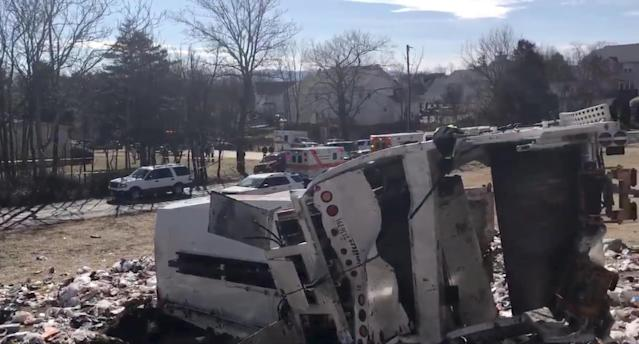 <p>View of the scene following the accident when a train traveling from Washington to West Virginia carrying Republican members of the U.S. House of Representatives collided with a garbage truck, in Crozet, Va, Jan. 31, 2018, in this picture grab obtained from a social media video. (Photo: Congressman Steve King/via Reuters) </p>