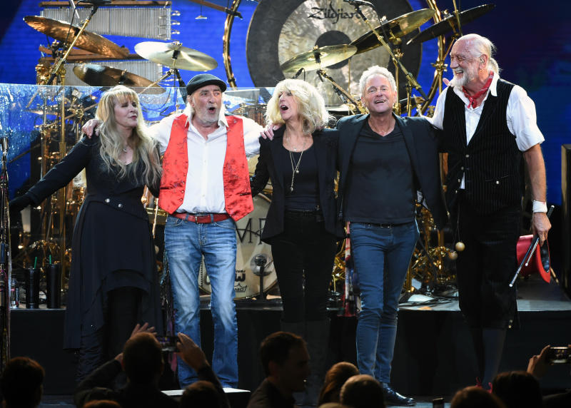 Fleetwood Mac band members from left Stevie Nicks John McVie Christine McVie Lindsey Buckingham and Mick Fleetwood appear at the 2018 Musi Cares Person of the Year tribute honoring Fleetwood Mac in New York. B
