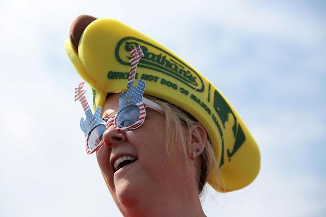<p>Kathy Schultz of New York City attends the Nathan's Famous Fourth of July International Hot Dog-Eating Contest at Coney Island in Brooklyn, New York City, U.S, July 4, 2017. (Andrew Kelly/Reuters) </p>